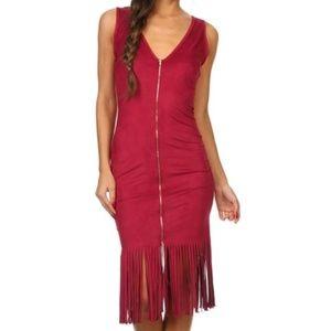 Dresses - faux suede fringe dress